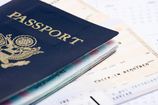Travel documents passport and airline tickets