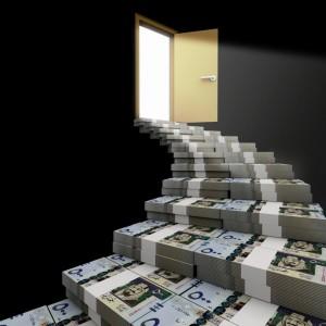 Stairs made of Saudi riyals lead to open door