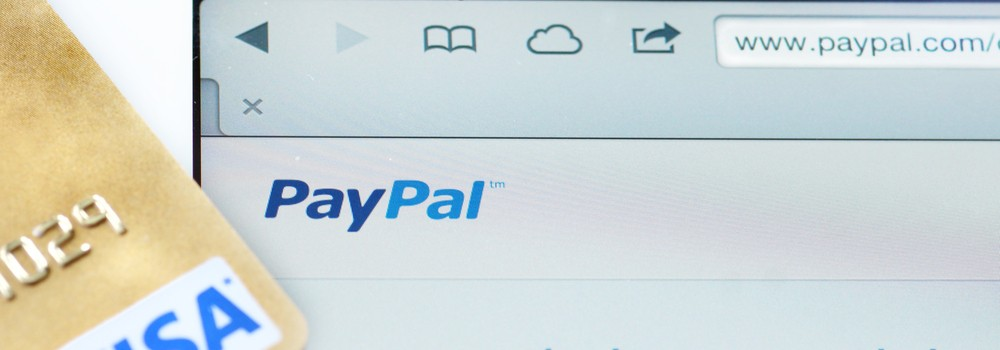 PayPal on computer with Visa card