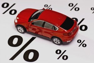 Car with percentage signs