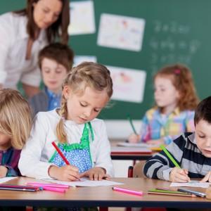 Group of children studying in kindergarten school