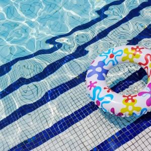 Colorful ring in swimming pool