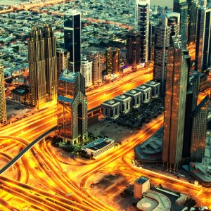 Dubai skyscrapers on Sheikh Zayed Road