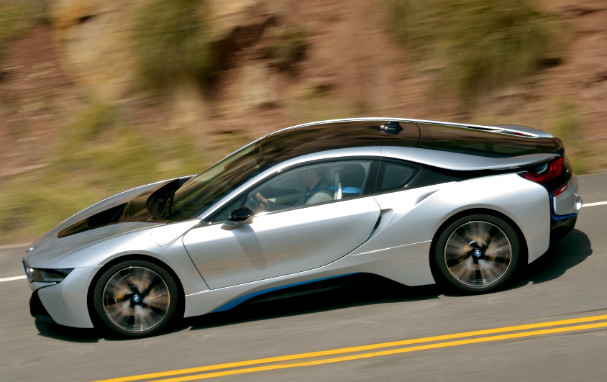 BMW i8 on the road