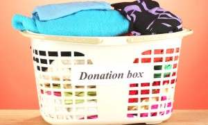 Basket of donated clothes