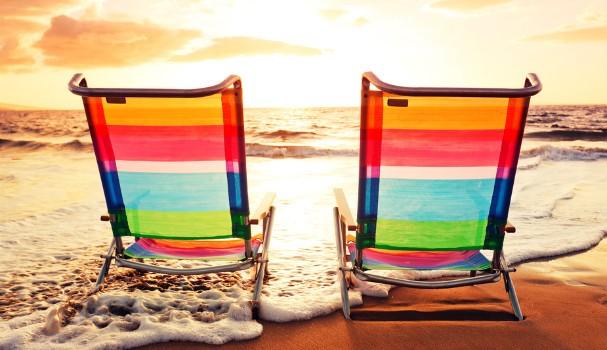 Holiday beach chairs on a beach