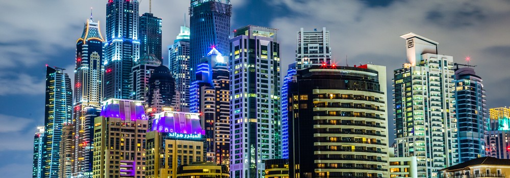 Dubai Marina skyscrapers at night