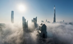 Burj Khalifa and Downtown Dubai in fog