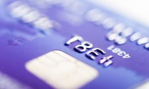 Corner of purple credit card