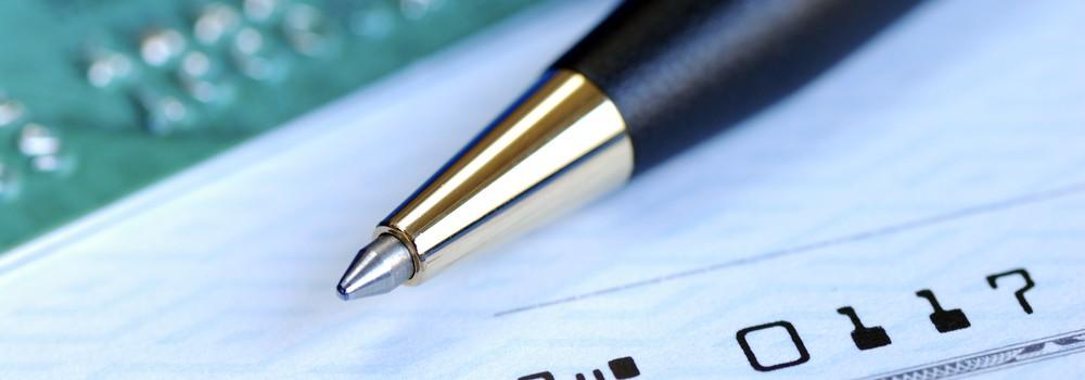 Pen and checkbook