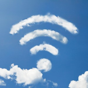 A cloud shaped as the wifi sign