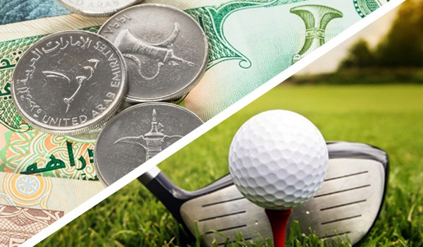 UAE dirhams and a golf ball in a golf course