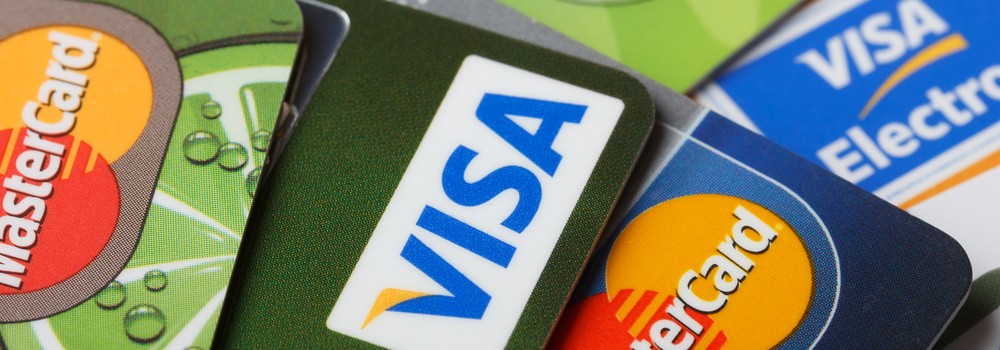 Mastercard and Visa logos on credit cards