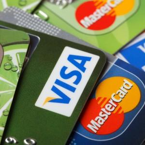 Mastercard and Visa logos on credit cards