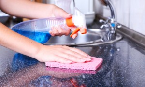 Maid cleans sink