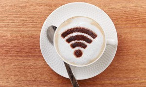 wifi area sign on a latte coffee