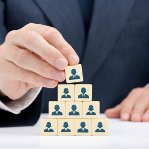 Corporate hierarchy concept by one person
