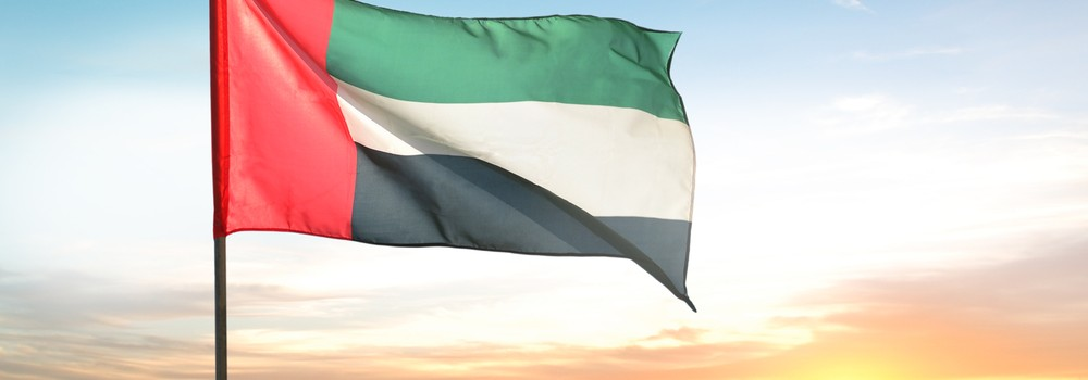 A big flag of UAE flying high on the city of Sharjah