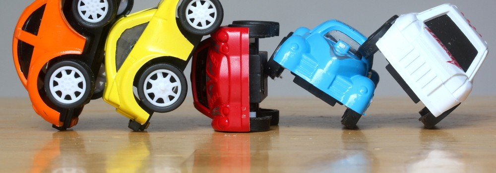 Car Accident concept image with colorful miniature cars