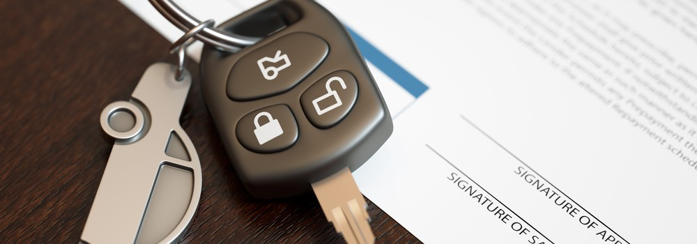 Car loan application with car keys