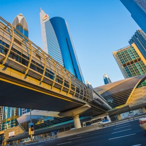 Dubai, UAE, Metro line and taxi
