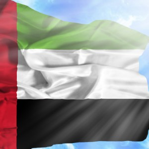 UAE national flag in sky