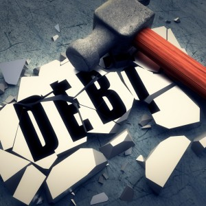 Debt smashed by hammer