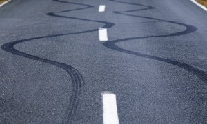 Skidmarks on a road