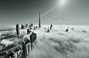 Burj khalifa, Downtown is covered by early morning fog in Dubai, UAE