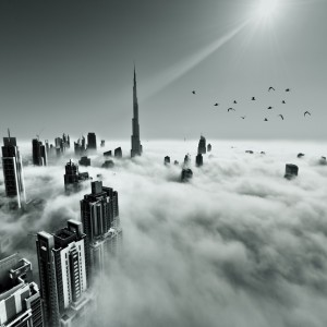 Burj khalifa, Downtown is covered by early morning fog in Dubai, UAE
