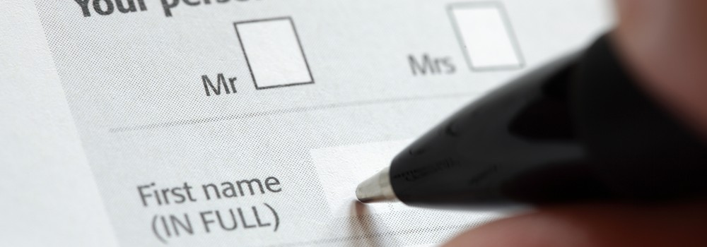Filling in personal details on an application form