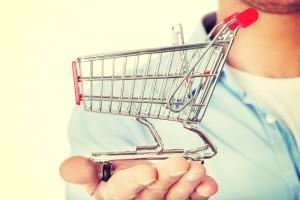 supermarket trolley in hand