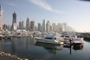 Yachts and Boats on display during Dubai Boat Show at Dubai Marina Yacht Club
