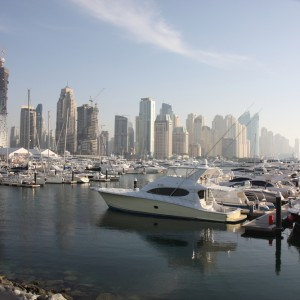 Yachts and Boats on display during Dubai Boat Show at Dubai Marina Yacht Club