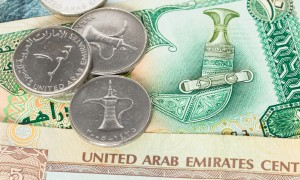 United Arab Emirates banknote and coins
