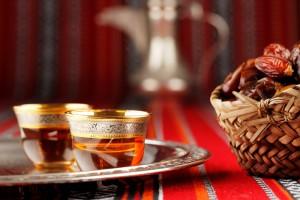 Closeup of dates and tea