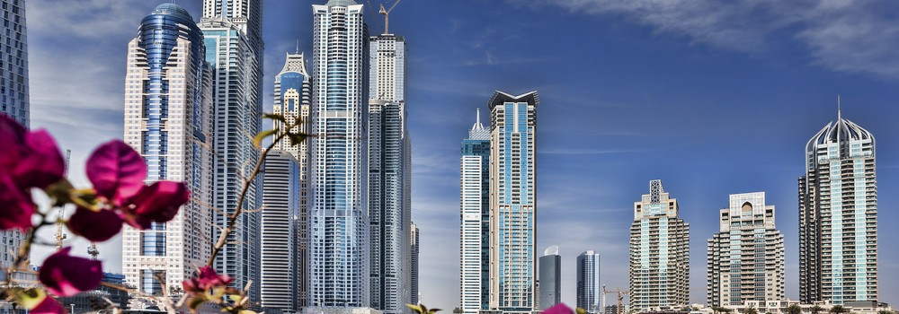 Dubai Marina with skyscrapers and boats in Dubai