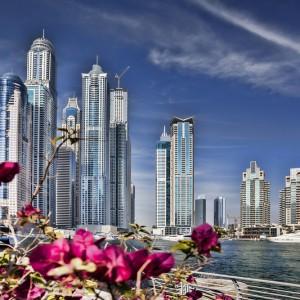 Dubai Marina with skyscrapers and boats in Dubai