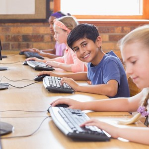 Pupils in computer class at the elementary school