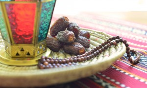 Arabic dates, lantern and rosary