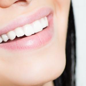 Closeup on a women smiling