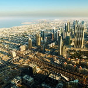 Downtown of Dubai (UAE, United Arab Emirates) in the morning