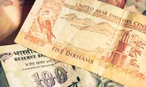Focus on currencies of United Arab Emirates and Republic of India