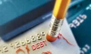 A pencil erasing credit card debt