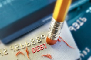 A pencil erasing credit card debt