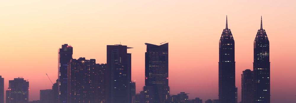 Dubai Media City skyline at dusk