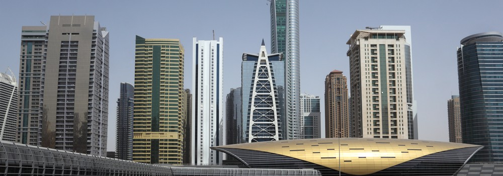 Skyscrapers at the Sheikh Zayed Road in Dubai, United Arab Emirates