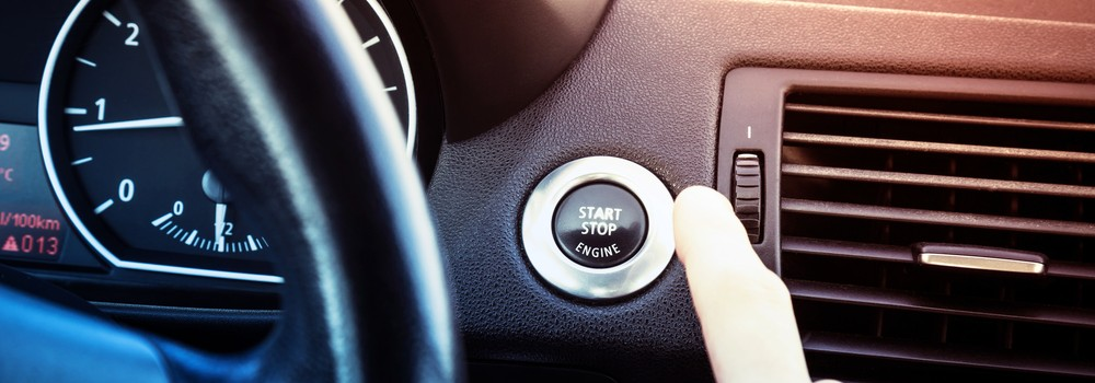 Starting engine by pressing button