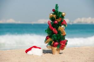 Christmas tree on the beach in Dubai