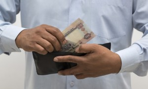 United Arab Emirates Dirhams in hand